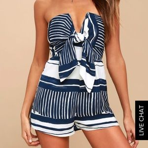 Lulu's Blue and White Tie Romper💙